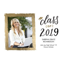2019 Graduation Announcements 5x7 Cards, Premium Cardstock 120lb with Rounded Corners, Card & Stationery -2019 Grad Heavy Gold by Tumbalina