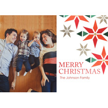 Christmas Photo Cards 5x7 Cards, Premium Cardstock 120lb with Rounded Corners, Card & Stationery -Geometric Poinsettias
