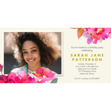 Birthday Party Invites 4x8 Flat Card Set, 85lb, Card & Stationery -Watercolor Floral