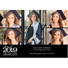 2019 Graduation Announcements 5x7 Cards, Premium Cardstock 120lb with Scalloped Corners, Card & Stationery -2019 Graduation Collage by Tumbalina