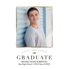 2019 Graduation Announcements 5x7 Cards, Premium Cardstock 120lb with Rounded Corners, Card & Stationery -Graduate 2019 Gold Borders by Tumbalina
