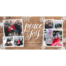 Christmas Photo Cards 4x8 Flat Card Set, 85lb, Card & Stationery -Holiday Peace & Joy Snowflakes