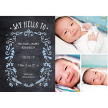 Baby Announcements Flat Glossy Photo Paper Cards with Envelopes, 5x7, Card & Stationery -Baby Foliage Chalkboard