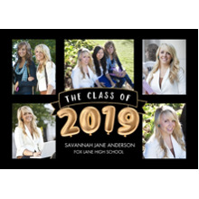 2019 Graduation Announcements 5x7 Cards, Premium Cardstock 120lb with Scalloped Corners, Card & Stationery -Grad 2019 Balloons by Tumbalina