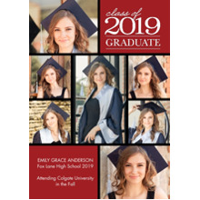 2019 Graduation Announcements 5x7 Cards, Premium Cardstock 120lb with Rounded Corners, Card & Stationery -2019 Graduation Collage by Tumbalina