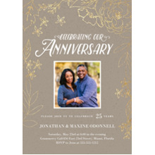 Anniversary Invitations 5x7 Cards, Premium Cardstock 120lb, Card & Stationery -Gilded Botanicals
