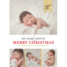 Christmas Photo Cards 5x7 Cards, Premium Cardstock 120lb with Rounded Corners, Card & Stationery -Merry Monogrammed Ribbon by Posh Paper