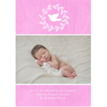 Christening + Baptism 5x7 Cards, Premium Cardstock 120lb with Scalloped Corners, Card & Stationery -Wreathed Dove - Orchid