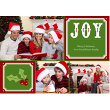 Christmas Photo Cards 5x7 Cards, Premium Cardstock 120lb with Elegant Corners, Card & Stationery -Joy + Christmas Holly