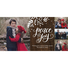Christmas Photo Cards 4x8 Flat Card Set, 85lb, Card & Stationery -Holiday Peace & Joy Rustic