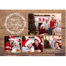 Christmas Photo Cards 5x7 Cards, Premium Cardstock 120lb with Scalloped Corners, Card & Stationery -Christmas 2018 Gold Wreath by Tumbalina