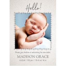 Baby Announcements Set of 20, Premium 5x7 Foil Card, Card & Stationery -Heart Frame