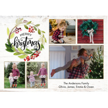 Christmas Photo Cards 5x7 Cards, Premium Cardstock 120lb with Elegant Corners, Card & Stationery -Christmas Wreath Festive