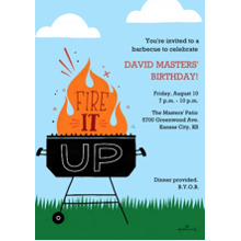 Birthday Party Invites 5x7 Cards, Premium Cardstock 120lb with Scalloped Corners, Card & Stationery -Fire It Up Grill