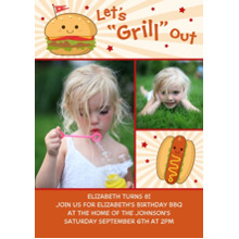 Birthday Party Invites 5x7 Cards, Premium Cardstock 120lb with Scalloped Corners, Card & Stationery -Let's Grill Out