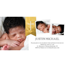 Christening + Baptism Flat Matte Photo Paper Cards with Envelopes, 4x8, Card & Stationery -Baptism Gold Cross Banner