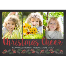 Christmas Photo Cards 5x7 Cards, Premium Cardstock 120lb with Scalloped Corners, Card & Stationery -Christmas Cheer Script