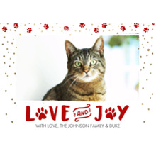 Christmas Photo Cards 5x7 Cards, Premium Cardstock 120lb with Rounded Corners, Card & Stationery -Christmas Love and Joy Paws by Tumbalina