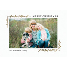 Christmas Photo Cards 5x7 Cards, Premium Cardstock 120lb with Scalloped Corners, Card & Stationery -Christmas Corners Foliage