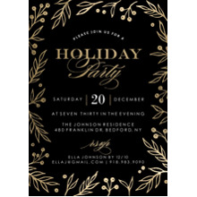 Christmas Party Invitations 5x7 Cards, Premium Cardstock 120lb, Card & Stationery -Holiday Invite Gold Foliage Borders