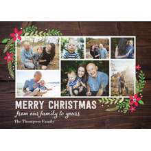 Christmas Photo Cards 5x7 Cards, Premium Cardstock 120lb with Elegant Corners, Card & Stationery -Christmas Woodgrain Floral Corners