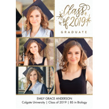 2019 Graduation Announcements 5x7 Cards, Premium Cardstock 120lb with Rounded Corners, Card & Stationery -2019 Graduate Stars Gold by Tumbalina