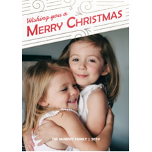 Christmas Photo Cards 5x7 Cards, Premium Cardstock 120lb with Elegant Corners, Card & Stationery -Happy Swirls of Merry