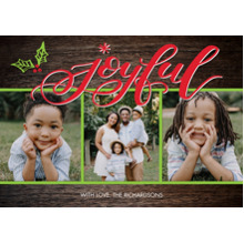 Christmas Photo Cards 5x7 Cards, Premium Cardstock 120lb with Scalloped Corners, Card & Stationery -Christmas Joyful Snapshots by Tumbalina