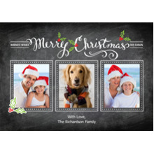 Christmas Photo Cards 5x7 Cards, Premium Cardstock 120lb with Rounded Corners, Card & Stationery -Christmas Calligraphy Collage