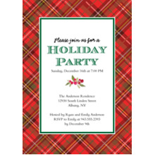 Christmas Party Invitations 5x7 Cards, Premium Cardstock 120lb with Rounded Corners, Card & Stationery -Holiday Party Plaid