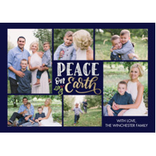 Christmas Photo Cards 5x7 Cards, Premium Cardstock 120lb with Rounded Corners, Card & Stationery -Christmas Peace on Earth Collage by Tumbalina