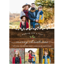 Christmas Photo Cards 5x7 Cards, Premium Cardstock 120lb with Rounded Corners, Card & Stationery -Christmas Rustic Lights by Tumbalina