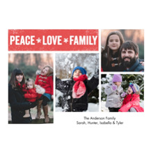 Christmas Photo Cards 5x7 Cards, Premium Cardstock 120lb with Elegant Corners, Card & Stationery -Holiday Peace Love Family