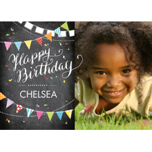 Birthday Greeting Cards 5x7 Folded Cards, Premium Cardstock 120lb, Card & Stationery -Birthday Flags Chalkboard