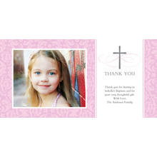 Christening + Baptism Flat Matte Photo Paper Cards with Envelopes, 4x8, Card & Stationery -Thank You Cross Damask Pink