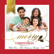 Christmas Photo Cards 5x5 Flat Card Set, 85lb, Card & Stationery -Christmas Gold Banner Initial
