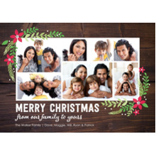Christmas Photo Cards 5x7 Cards, Premium Cardstock 120lb with Rounded Corners, Card & Stationery -Christmas Woodgrain Floral Corners