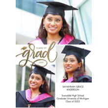 2019 Graduation Announcements 5x7 Cards, Premium Cardstock 120lb with Scalloped Corners, Card & Stationery -Grad 2019 Simple Script by Tumbalina