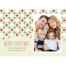 Christmas Photo Cards 5x7 Cards, Premium Cardstock 120lb with Rounded Corners, Card & Stationery -Star Pattern Merry Christmas