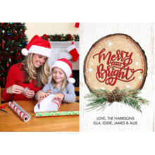 Christmas Photo Cards 5x7 Cards, Premium Cardstock 120lb with Elegant Corners, Card & Stationery -Christmas Wood Plaque by Tumbalina