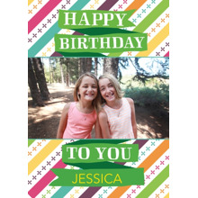 Birthday Greeting Cards 5x7 Folded Cards, Standard Cardstock 85lb, Card & Stationery -Happy Birthday Bright Ribbon