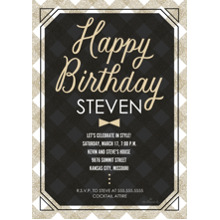Birthday Party Invites 5x7 Cards, Premium Cardstock 120lb with Rounded Corners, Card & Stationery -Happy Birthday Bowtie