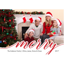 Christmas Photo Cards 5x7 Cards, Premium Cardstock 120lb with Elegant Corners, Card & Stationery -Christmas Red Merry Script