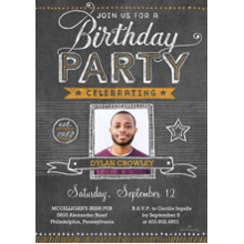 Birthday Party Invites 5x7 Cards, Standard Cardstock 85lb, Card & Stationery -Birthday Party Chalkboard Photo