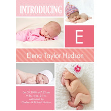 Baby Announcements Flat Glossy Photo Paper Cards with Envelopes, 5x7, Card & Stationery -Baby Introduce Initial