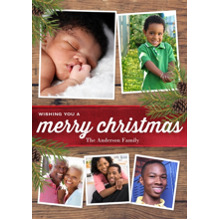 Christmas Photo Cards 5x7 Cards, Premium Cardstock 120lb with Elegant Corners, Card & Stationery -Christmas Red Velvet Ribbon