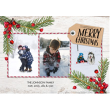 Christmas Photo Cards 5x7 Cards, Premium Cardstock 120lb with Elegant Corners, Card & Stationery -Christmas Pine Berries