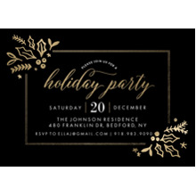 Christmas Party Invitations 5x7 Cards, Standard Cardstock 85lb, Card & Stationery -Holiday Invite Gold Foliage (5x7)