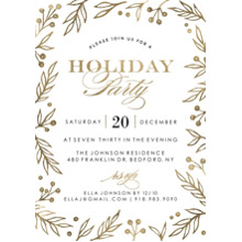 Christmas Party Invitations Flat Matte Photo Paper Cards with Envelopes, 5x7, Card & Stationery -Holiday Invite Gold Foliage Borders