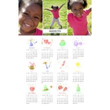 Calendar 12x18 Peel, Stick & Reuse, Home Decor -A Year of Celebrations